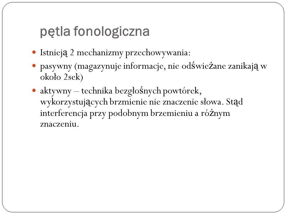 pętla fonologiczna Istnieją 2 mechanizmy przechowywania: