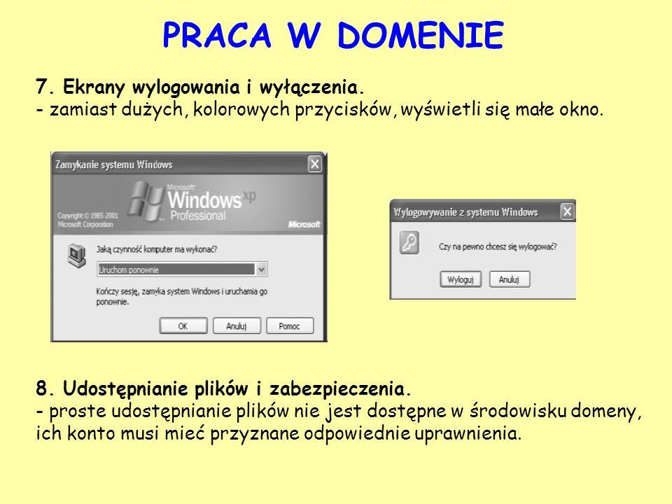 PRACA W DOMENIE 7. Ekrany wylogowania i wyłączenia.