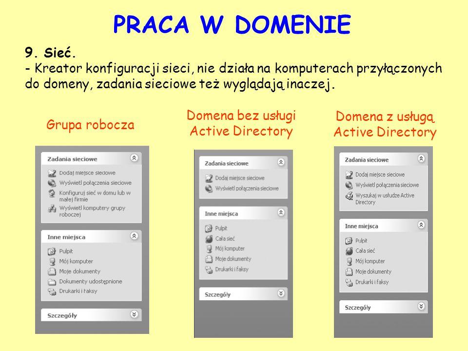 PRACA W DOMENIE9. Sieć. - Kreator konfiguracji sieci, nie działa na komputerach przyłączonych do domeny, zadania sieciowe też wyglądają inaczej.