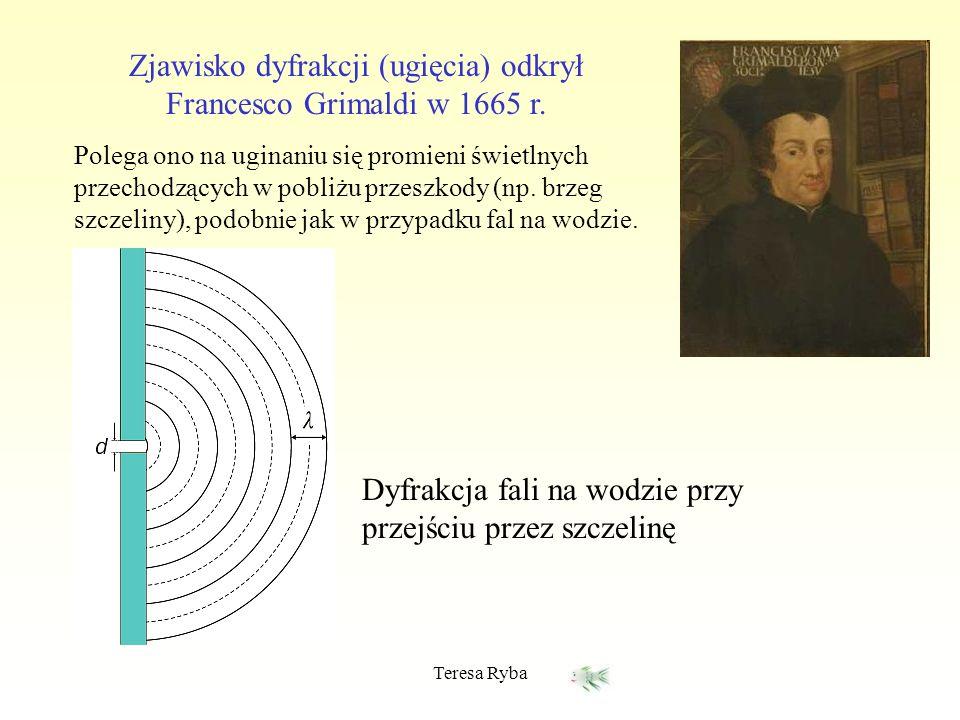 Zjawisko dyfrakcji (ugięcia) odkrył Francesco Grimaldi w 1665 r.