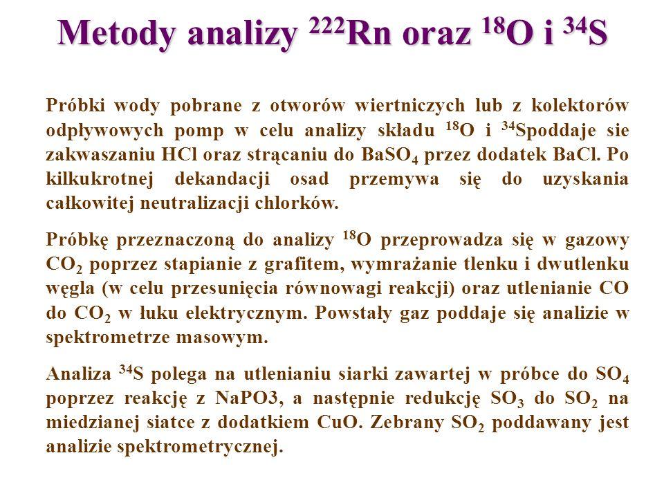 Metody analizy 222Rn oraz 18O i 34S