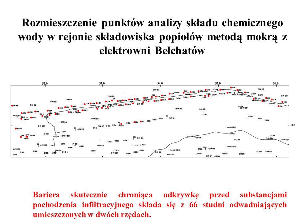 Rozmieszczenie punktów analizy składu chemicznego wody w rejonie składowiska popiołów metodą mokrą z elektrowni Bełchatów