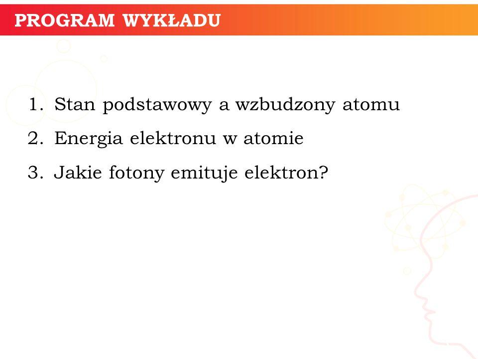 PROGRAM WYKŁADU Stan podstawowy a wzbudzony atomu. Energia elektronu w atomie. Jakie fotony emituje elektron