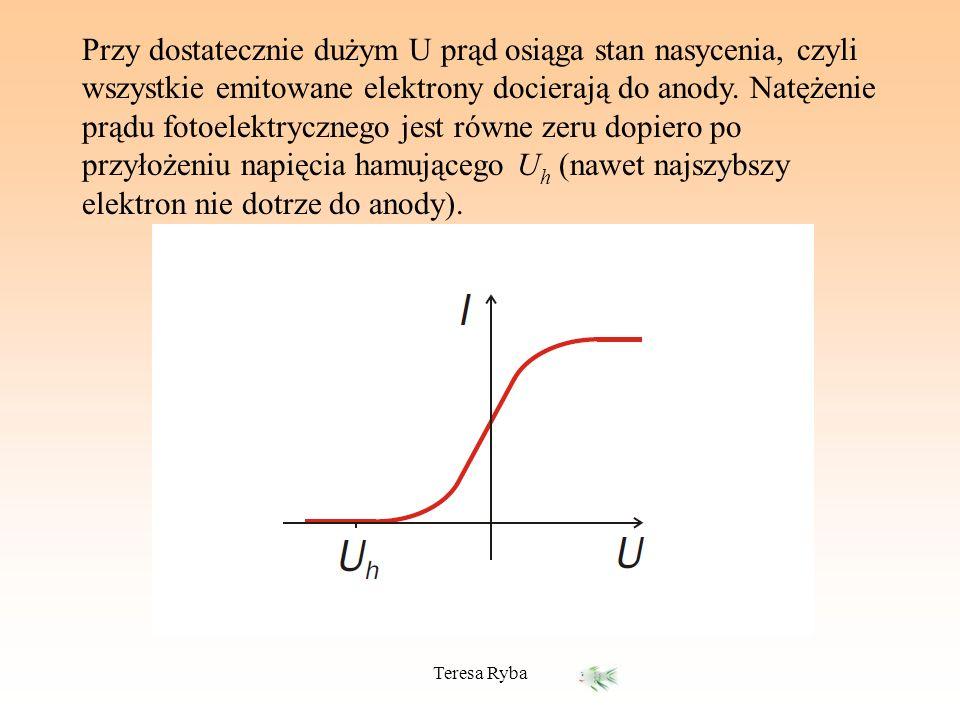 Przy dostatecznie dużym U prąd osiąga stan nasycenia, czyli wszystkie emitowane elektrony docierają do anody. Natężenie prądu fotoelektrycznego jest równe zeru dopiero po przyłożeniu napięcia hamującego Uh (nawet najszybszy elektron nie dotrze do anody).