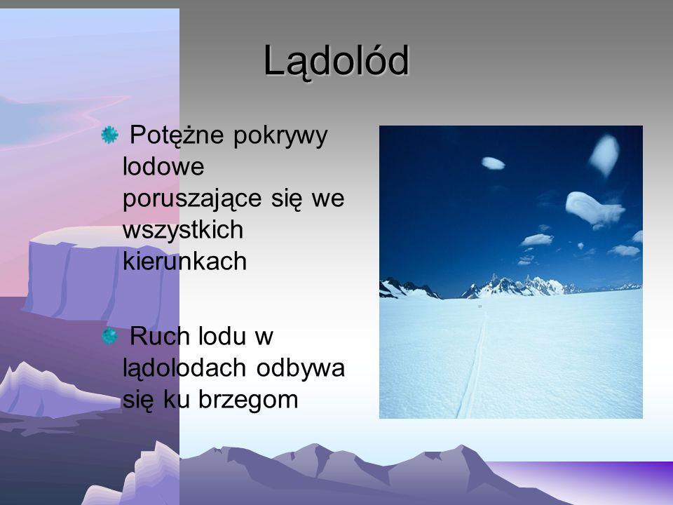 Lądolód Potężne pokrywy lodowe poruszające się we wszystkich kierunkach.