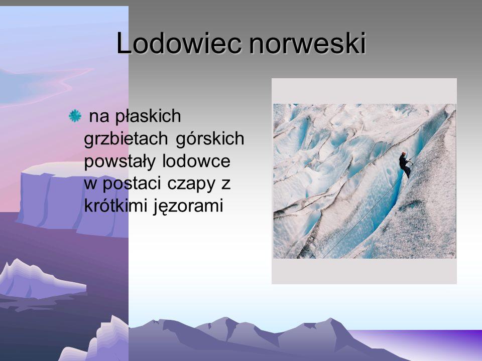 Lodowiec norweski na płaskich grzbietach górskich powstały lodowce w postaci czapy z krótkimi jęzorami.