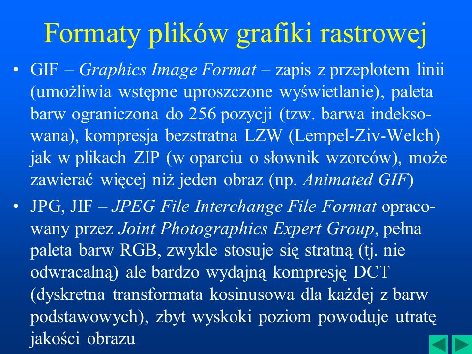 Formaty plików grafiki rastrowej
