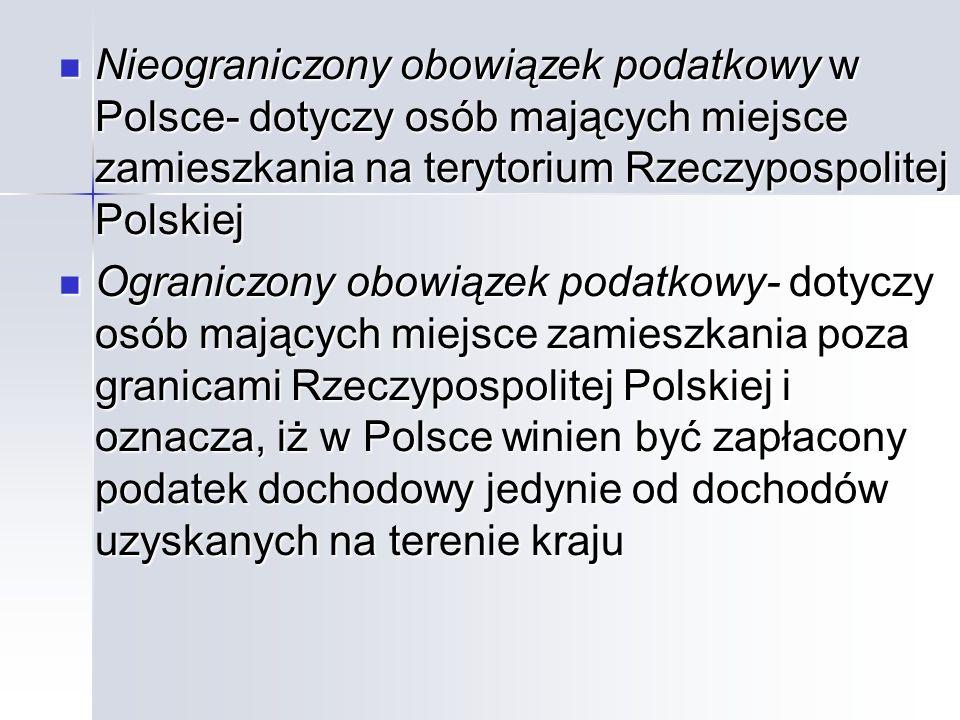 Nieograniczony obowiązek podatkowy w Polsce- dotyczy osób mających miejsce zamieszkania na terytorium Rzeczypospolitej Polskiej