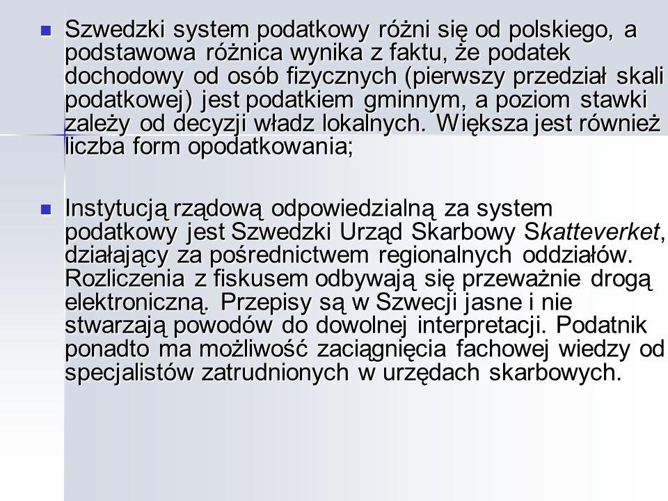 Szwedzki system podatkowy różni się od polskiego, a podstawowa różnica wynika z faktu, że podatek dochodowy od osób fizycznych (pierwszy przedział skali podatkowej) jest podatkiem gminnym, a poziom stawki zależy od decyzji władz lokalnych. Większa jest również liczba form opodatkowania;