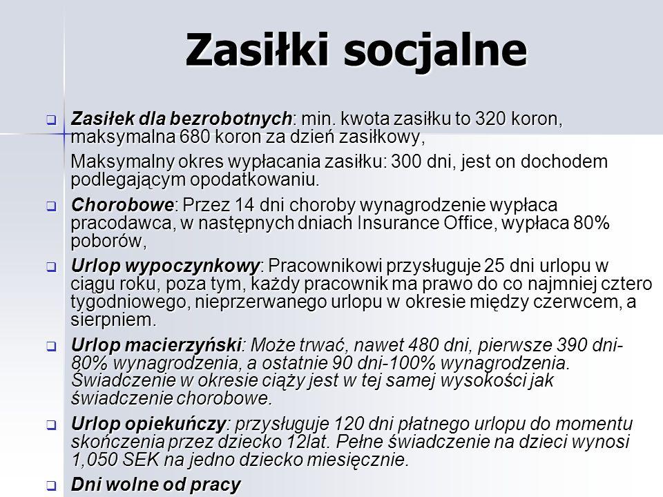 Zasiłki socjalne Zasiłek dla bezrobotnych: min. kwota zasiłku to 320 koron, maksymalna 680 koron za dzień zasiłkowy,