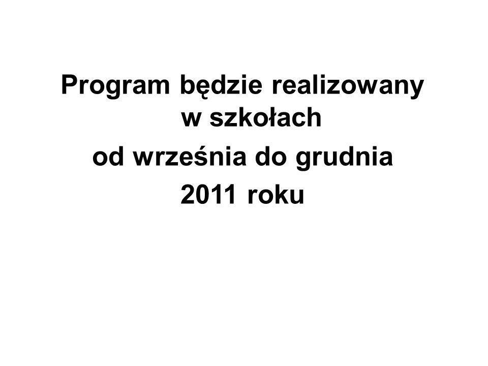 Program będzie realizowany w szkołach od września do grudnia 2011 roku