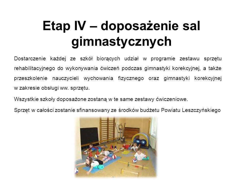 Etap IV – doposażenie sal gimnastycznych
