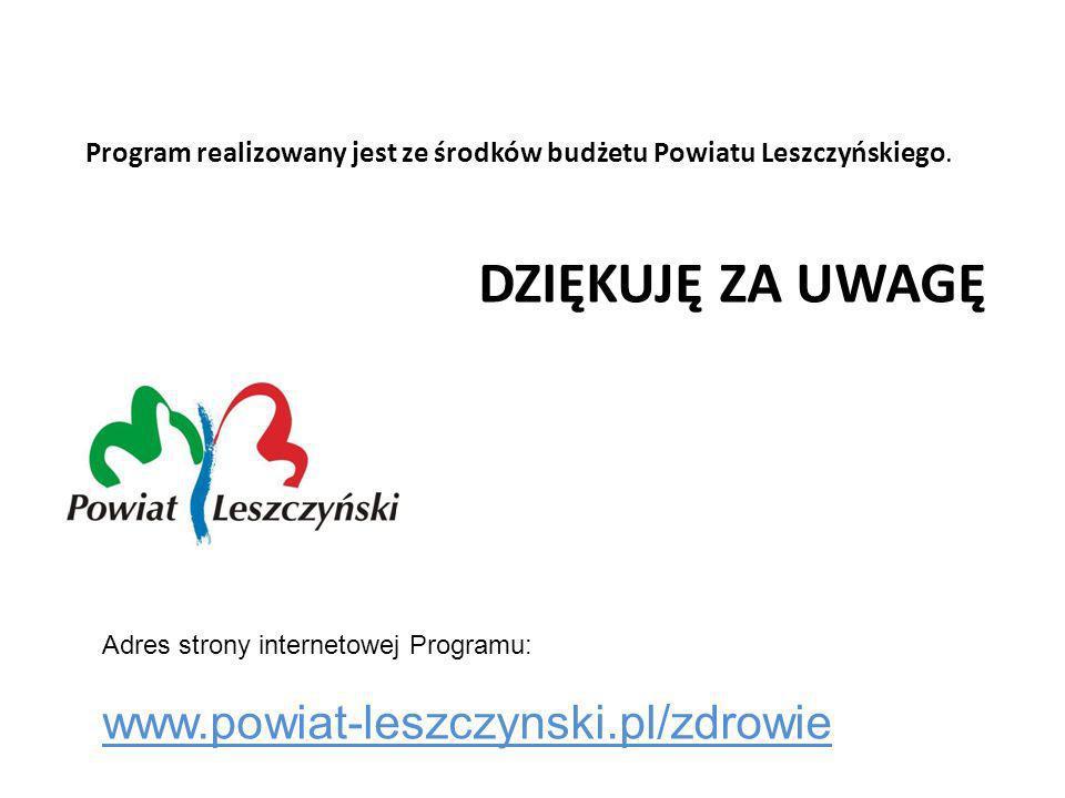 Program realizowany jest ze środków budżetu Powiatu Leszczyńskiego.