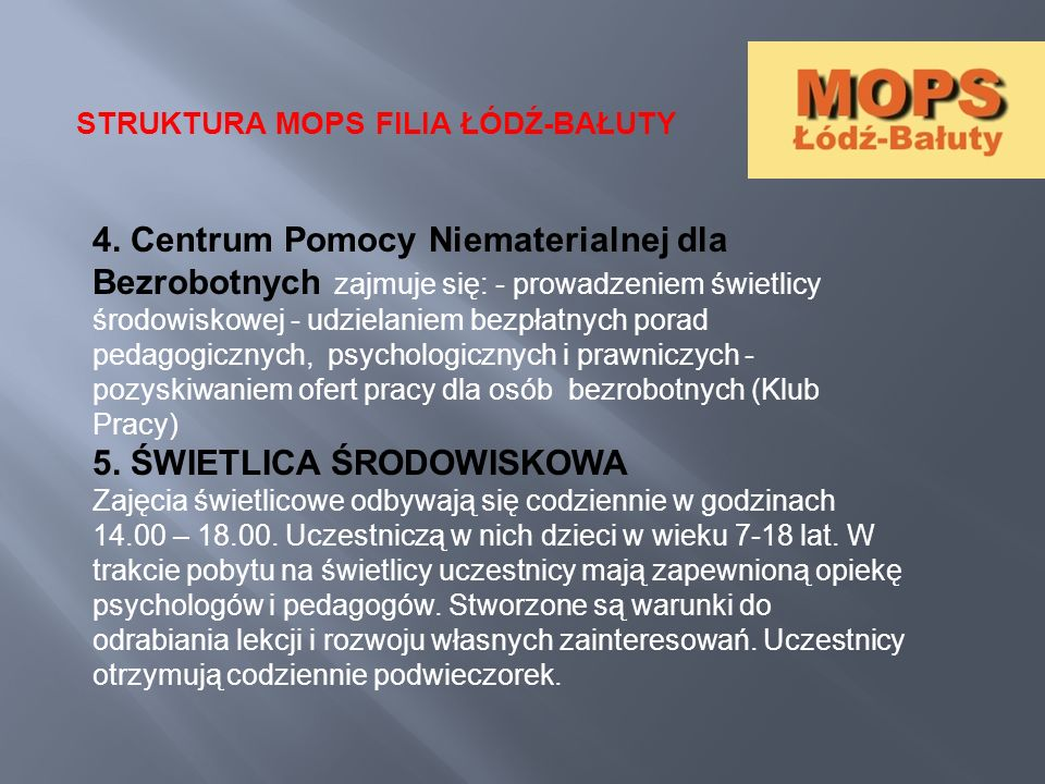 STRUKTURA MOPS FILIA ŁÓDŹ-BAŁUTY