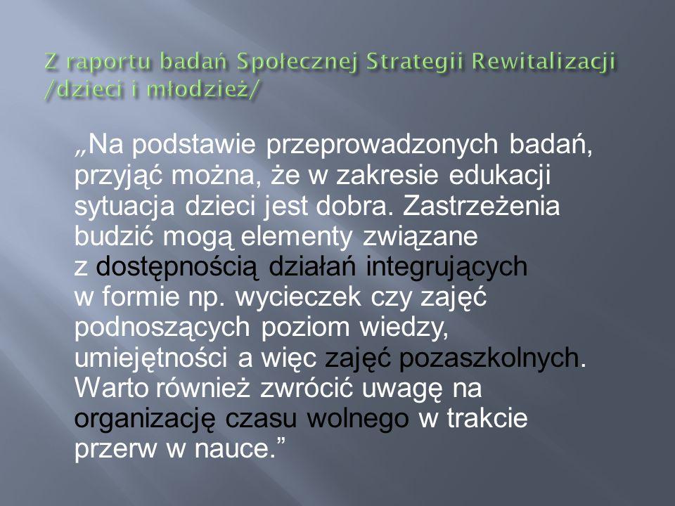 Z raportu badań Społecznej Strategii Rewitalizacji /dzieci i młodzież/
