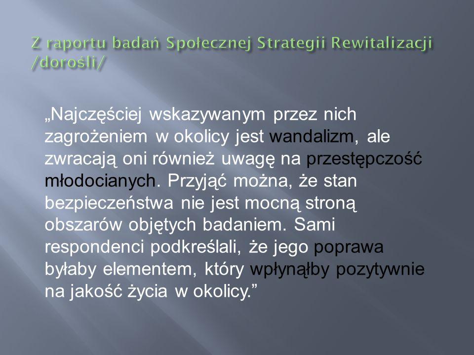 Z raportu badań Społecznej Strategii Rewitalizacji /dorośli/