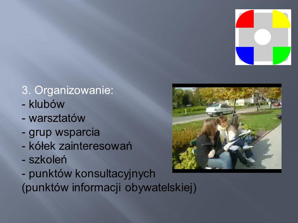 3. Organizowanie: - klubów. - warsztatów. - grup wsparcia. - kółek zainteresowań. - szkoleń.