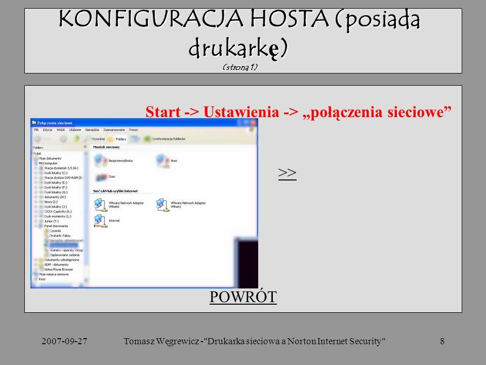 KONFIGURACJA HOSTA (posiada drukarkę) (strona 1)