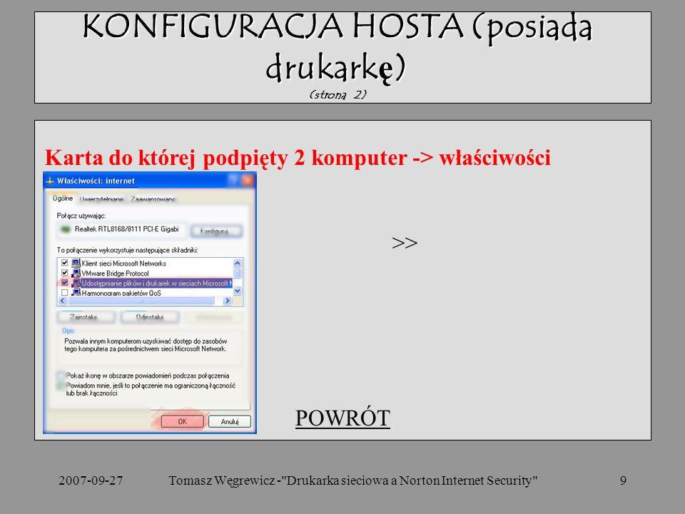 KONFIGURACJA HOSTA (posiada drukarkę) (strona 2)