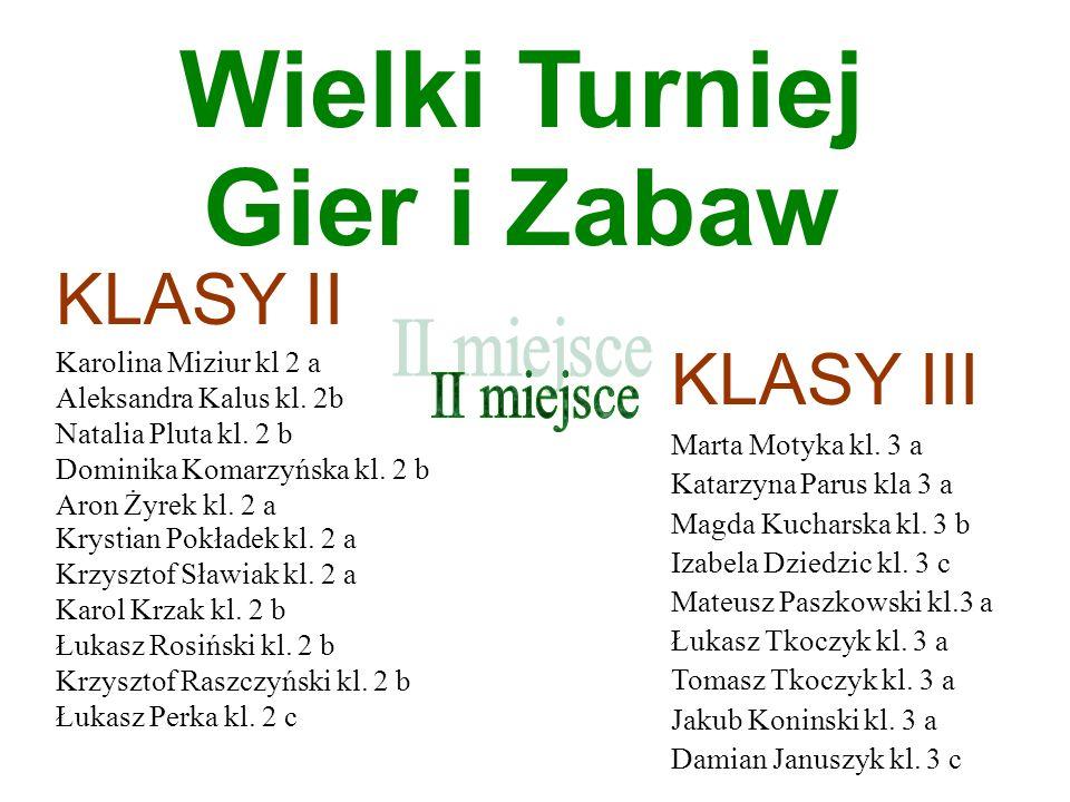 Wielki Turniej Gier i Zabaw KLASY II KLASY III II miejsce