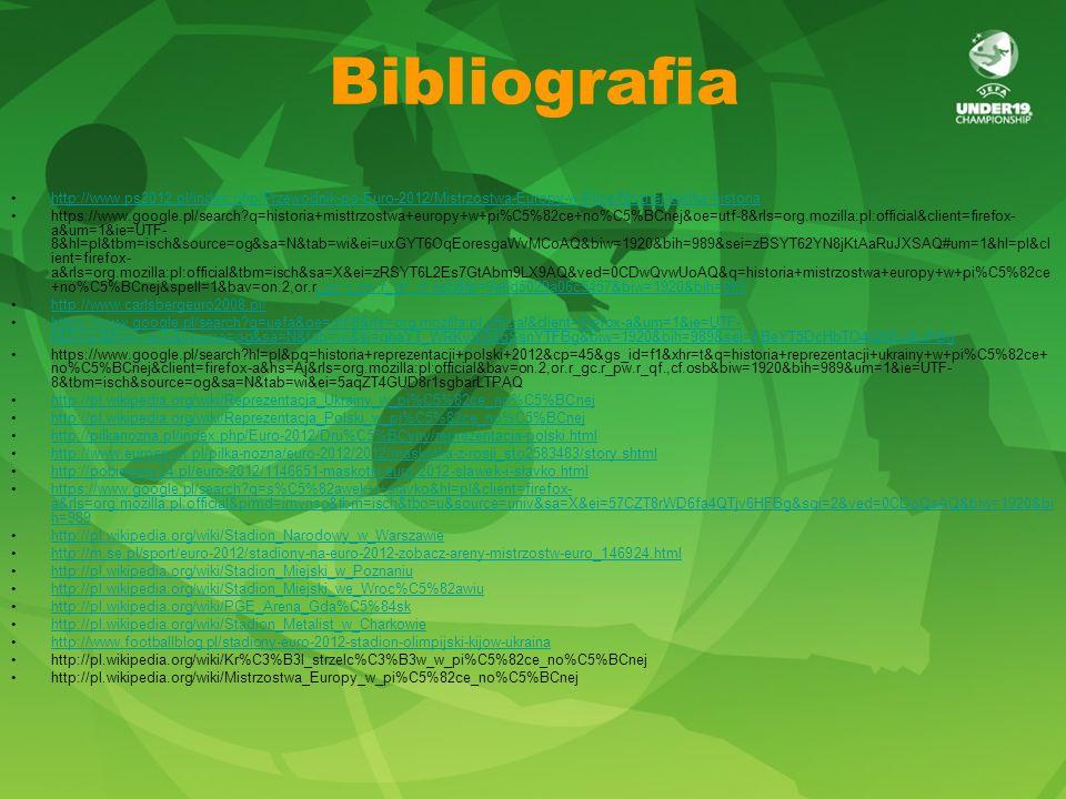 Bibliografia http://www.ps2012.pl/index.php/Przewodnik-po-Euro-2012/Mistrzostwa-Europy-w-Pilce-Noznej-krotka-historia.