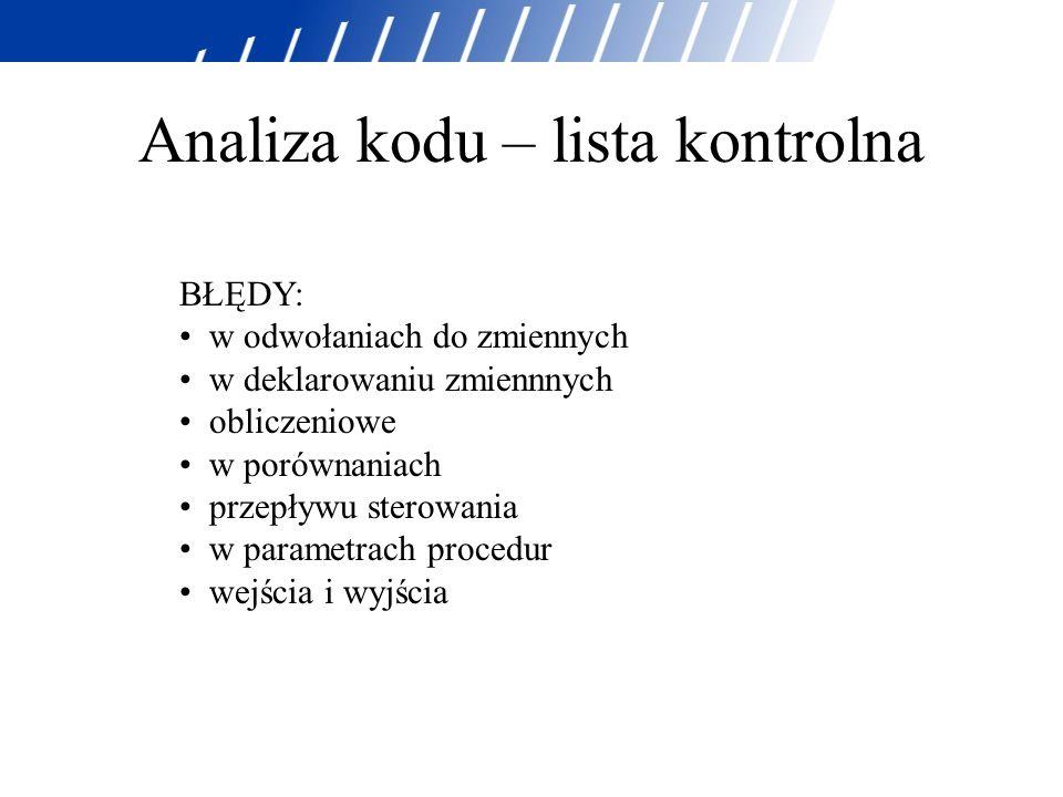 Analiza kodu – lista kontrolna