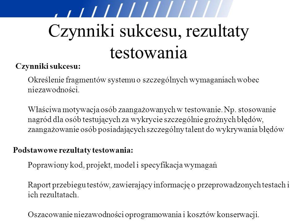 Czynniki sukcesu, rezultaty testowania