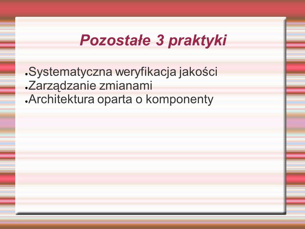 Pozostałe 3 praktyki Systematyczna weryfikacja jakości