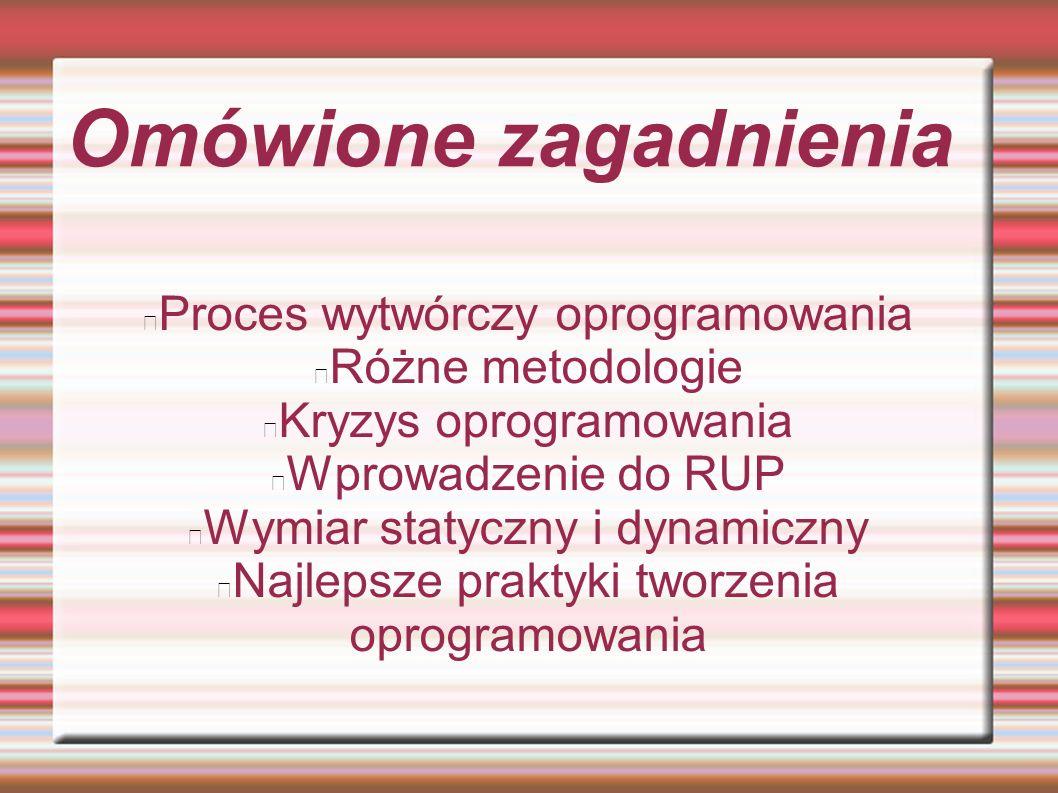Omówione zagadnienia Proces wytwórczy oprogramowania Różne metodologie
