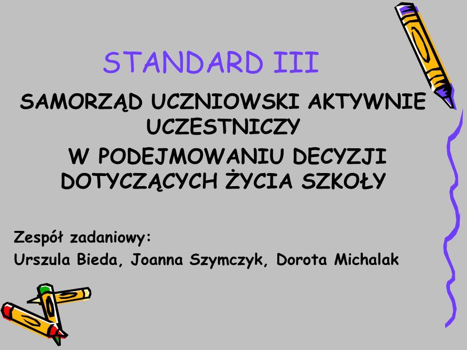 STANDARD III SAMORZĄD UCZNIOWSKI AKTYWNIE UCZESTNICZY