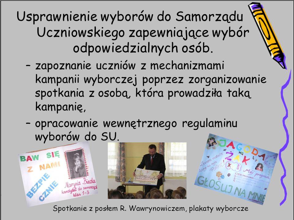 Usprawnienie wyborów do Samorządu Uczniowskiego zapewniające wybór odpowiedzialnych osób.