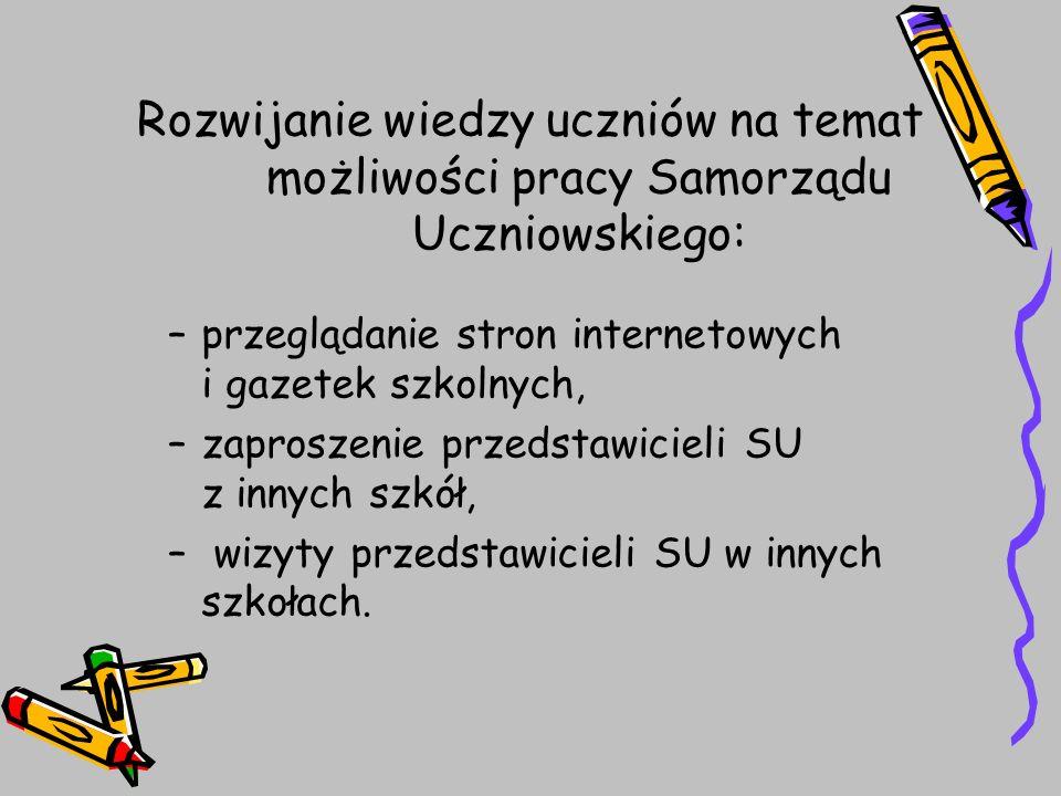 Rozwijanie wiedzy uczniów na temat możliwości pracy Samorządu Uczniowskiego: