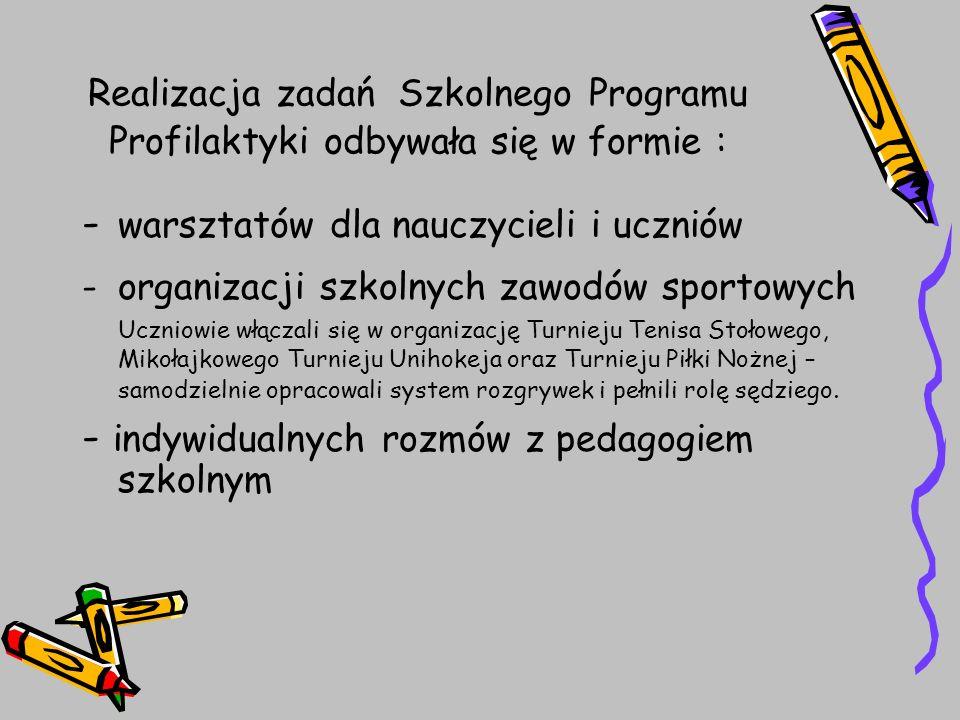 - warsztatów dla nauczycieli i uczniów