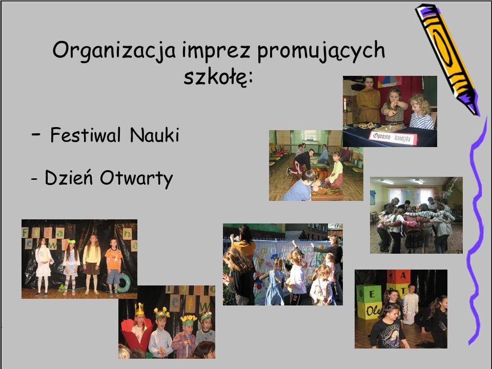 Organizacja imprez promujących szkołę: