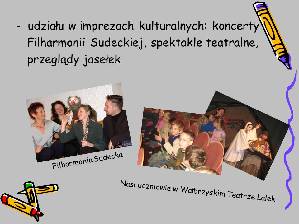 - udziału w imprezach kulturalnych: koncerty Filharmonii Sudeckiej, spektakle teatralne, przeglądy jasełek