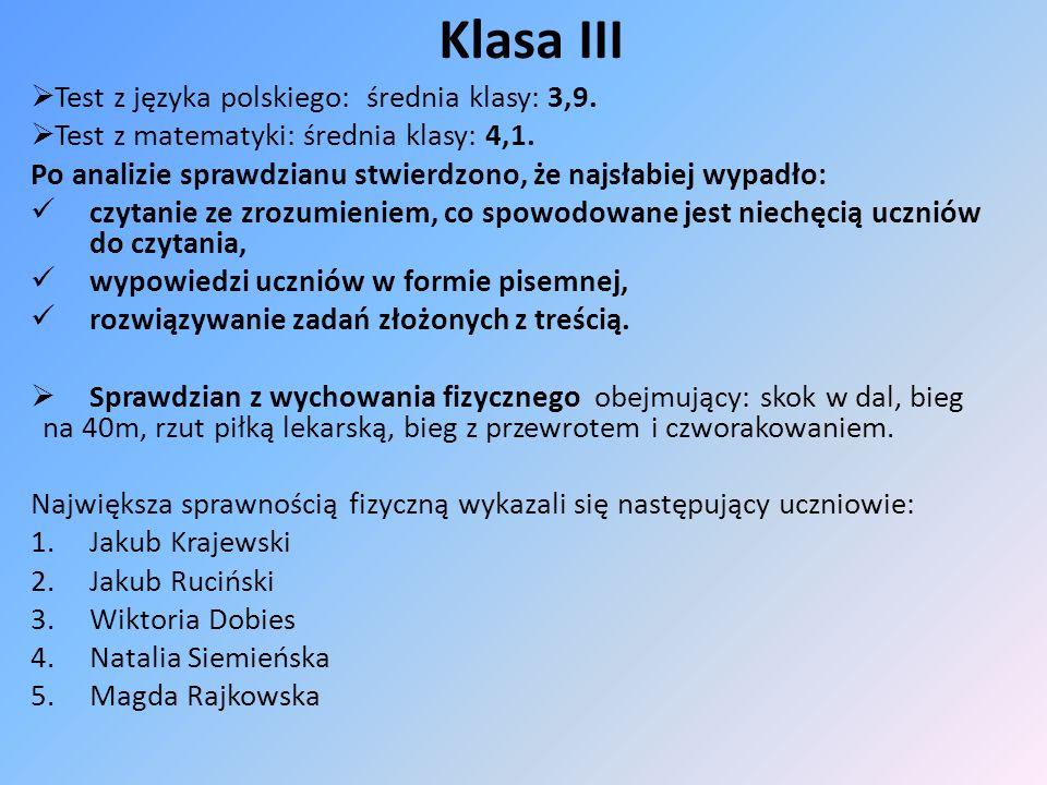 Klasa III Test z języka polskiego: średnia klasy: 3,9.