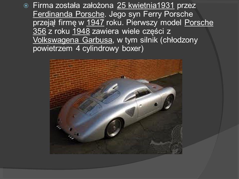 Firma została założona 25 kwietnia1931 przez Ferdinanda Porsche