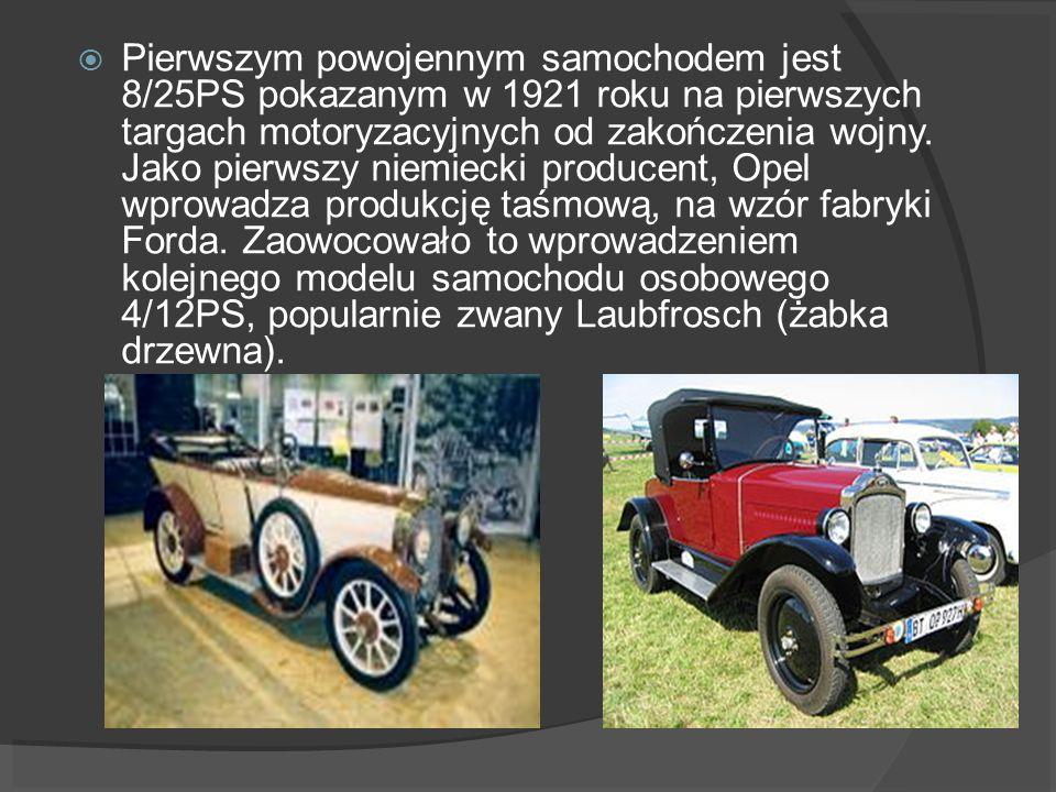 Pierwszym powojennym samochodem jest 8/25PS pokazanym w 1921 roku na pierwszych targach motoryzacyjnych od zakończenia wojny.