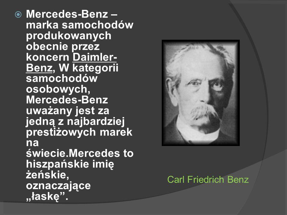 """Mercedes-Benz – marka samochodów produkowanych obecnie przez koncern Daimler- Benz, W kategorii samochodów osobowych, Mercedes-Benz uważany jest za jedną z najbardziej prestiżowych marek na świecie.Mercedes to hiszpańskie imię żeńskie, oznaczające """"łaskę ."""