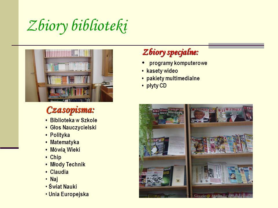 Zbiory biblioteki Czasopisma: Zbiory specjalne: • programy komputerowe