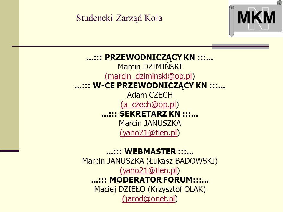 ...::: W-CE PRZEWODNICZĄCY KN :::... Adam CZECH (a_czech@op.pl)