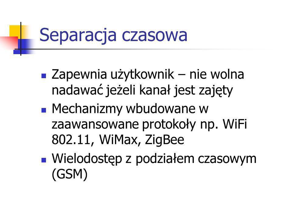 Separacja czasowa Zapewnia użytkownik – nie wolna nadawać jeżeli kanał jest zajęty.