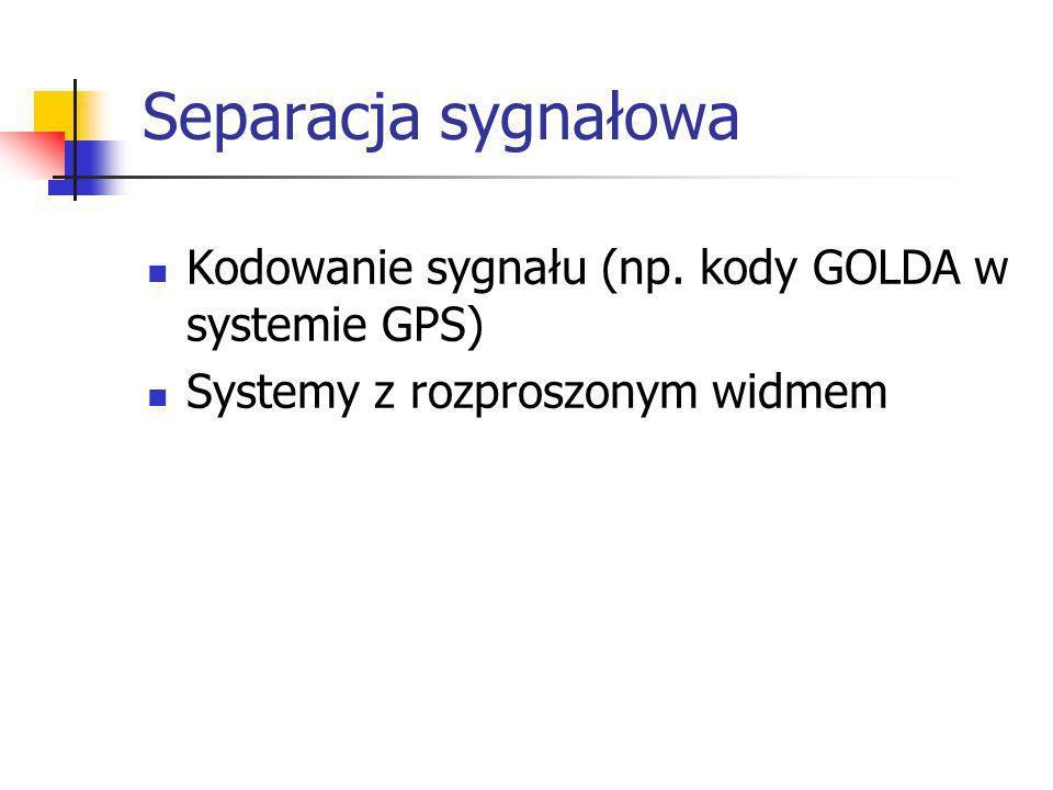 Separacja sygnałowa Kodowanie sygnału (np. kody GOLDA w systemie GPS)