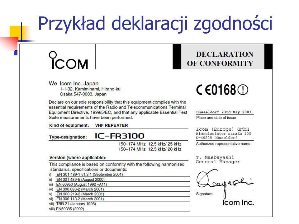 Przykład deklaracji zgodności