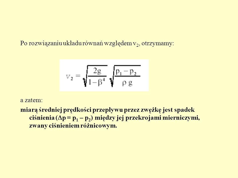 Po rozwiązaniu układu równań względem v2, otrzymamy: