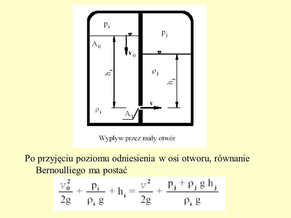 Po przyjęciu poziomu odniesienia w osi otworu, równanie Bernoulliego ma postać
