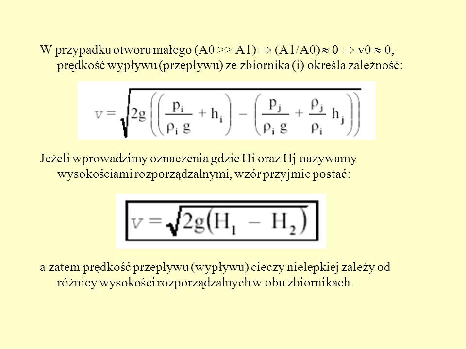 W przypadku otworu małego (A0 >> A1)  (A1/A0)  0  v0  0, prędkość wypływu (przepływu) ze zbiornika (i) określa zależność: