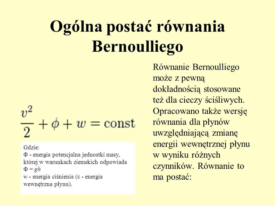 Ogólna postać równania Bernoulliego