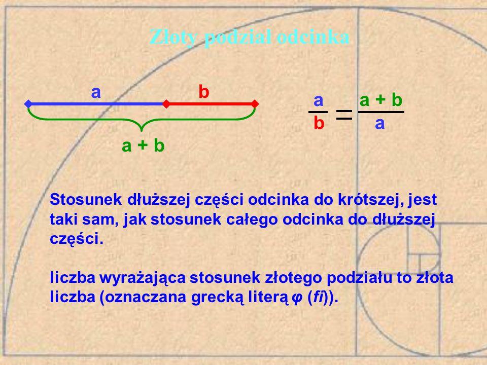Złoty podział odcinka a b a + b a + b a b