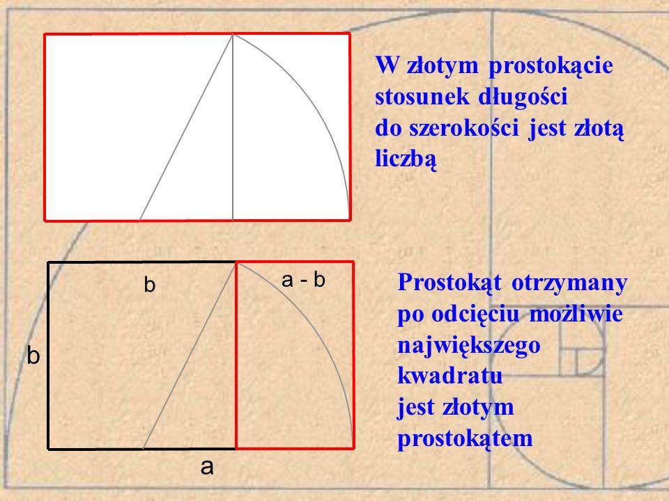 W złotym prostokącie stosunek długości do szerokości jest złotą liczbą